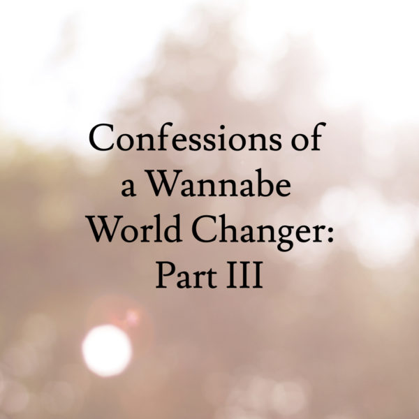 Confessions of a Wannabe World Changer – Part 3